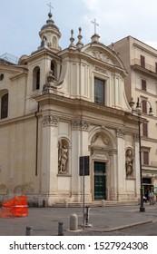 ROME, ITALY - SEPTEMBER 2, 2019: Santi Claudio e Andrea dei Borgognoni (Chiesa dei Santi Andrea e Claudio dei Borgognoni)