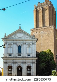 Rome, Italy - September 2018: Militia Tower and Military Cathedral of Santa Caterina da Siena.