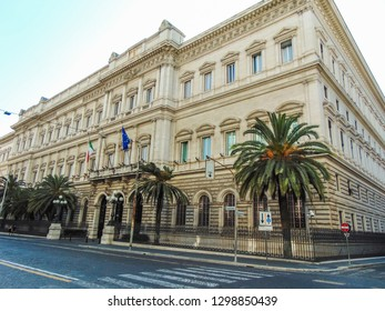 Rome, Italy - September 2018: Palazzo Koch is a Renaissance Revival palace on Via Nazionale in Rome, Italy and the current head office of the nation's central bank, the Banca d'Italia.