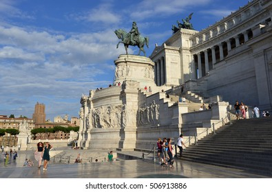 ROME, ITALY - SEPTEMBER 21: Tourists visit the famous Vittoriano (Altar of Nation) monument, with the first king of Italy equestrian statue on September 21, 2016 in Rome