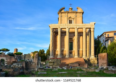 Rome / Italy — September 22, 2017: Temple of Antoninus and Faustina, a Roman temple turned into a catholic church of San Lorenzo in Miranda, on the Roman Forum (Forum Romanum) in Rome, Italy