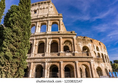 ROME, ITALY- SEPTEMBER 22, 2018: Unidentified people at Colloseum in Rome, Italy. It is most remarkable landmark of Rome and Italy.