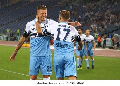 ROME, ITALY - September 2,2018: Sergej Milinkovic during football match serie A League 2018/2019 between Lazio Vs Frosinone at the Olimpic Stadium in Rome.