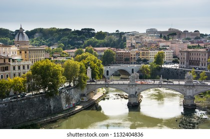 Rome / Italy — September 24, 2017: View of the Tiber in Rome, Italy, from the Castel Sant'Angelo