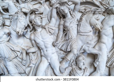 ROME, ITALY - SEPTEMBER 25, 2015 : Close up detailed view of historical famous sculptures in Vatican Museums in Italy.