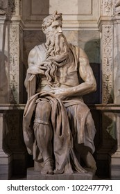 Rome, Italy September 26, 2013 Moses of Michelangelo preserved in the basilica of San Pietro in Vincoli
