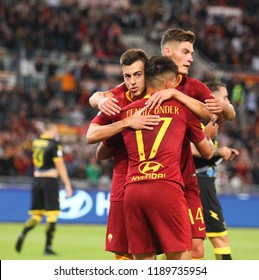 ROME, ITALY - SEPTEMBER 26,2018: Stephan El Shaarawy celebration during football match serie A League 2018/2019 between AS Roma vs Frosinone at the Olimpic Stadium in Rome.