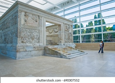 Rome, Italy - September 28, 2008: Visitors in the Ara Pacis museum