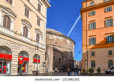Rome, Italy - September 28 2018: The rear of the ancient Pantheon temple as seen from the Piazza della Minerva on a sunny day in Rome, Italy