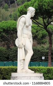 Rome, Italy - September 29, 2012: Statue of a dish thrower in the Marble Stadium of Rome, Italy