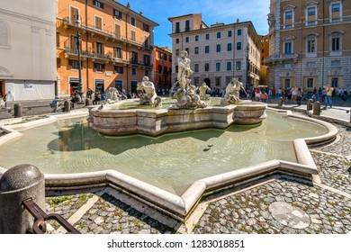 Rome, Italy - September 29 2018: Fontana del Moro is a fountain located in the Piazza Navona in Rome, Italy, representing a Moor, or African, standing in a conch shell, wrestling a dolphin.