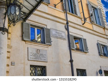 Rome, Italy - September 29 2018: A plaque honoring the Argentinian General Jose de San Martin adorns a wall next to the Piazza della Minerva street plaque in Rome, Italy