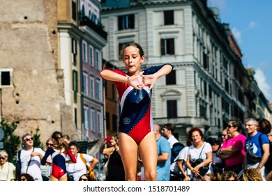 Rome Italy September 29, 2019 Celebrations of the 150th anniversary of the Italian gymnastics federation, public demonstration of young gymnasts in the streets of Rome near the Coliseum