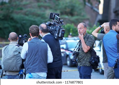 Rome, Italy - September 3, 2018: Journalists and cameramen at the site of an accident: the collapse of the roof of the San Giuseppe dei Falegnami church on Rome's Capitoline Hill
