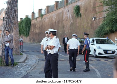 Rome, Italy - September 3, 2018: Italian Polizia Locale Roma Capitale officers. The Local Police Corps of Rome Capital (formerly the Municipal Police) is the municipal police service of Rome