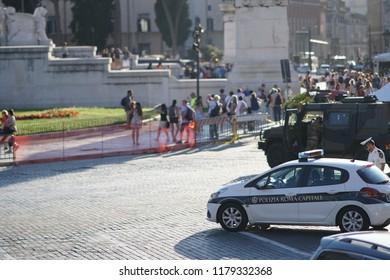 Rome, Italy - September 3, 2018: Polizia Locale Roma Capitale car. the Local Police Corps of Rome Capital (formerly the Municipal Police) is the municipal police service of Rome