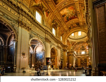 Rome, Italy - September 30 2018: The ornate, baroque interior of the Basilica of Sant'Andrea della Valle in the historic center of Rome, Italy