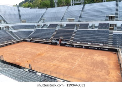 Rome, Italy - September 4, 2018: Foro Italico red clay tennis court. Foro Italico, formerly Foro Mussolini, is a sports complex in Rome built between 1928 and 1938