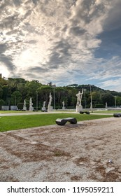 Rome, Italy - September 4, 2018: Marble statues of athletes in the Stadio dei Marmi. The Stadium of the Marbles is a sport stadium in the Foro Italico, formerly Foro Mussolini, a sport complex in Rome