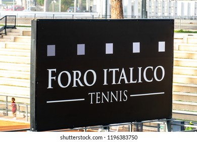 Rome, Italy - September 4, 2018: Foro Italico tennis signage. Foro Italico, formerly Foro Mussolini, is a sports complex in Rome built between 1928 and 1938