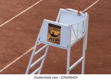 Rome, Italy - September 4, 2018: ATP Tennis chair umpire