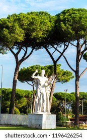 Rome, Italy - September 4, 2018: Marble statue at the Foro Italico, formerly Foro Mussolini, a sports complex in Rome built between 1928 and 1938