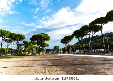 Rome, Italy - September 4, 2018: Road leading to the Tennis Stadio Nicola Pietrangeli (formerly Pallacorda) at the Foro Italico, formerly Foro Mussolini, sports complex in Rome