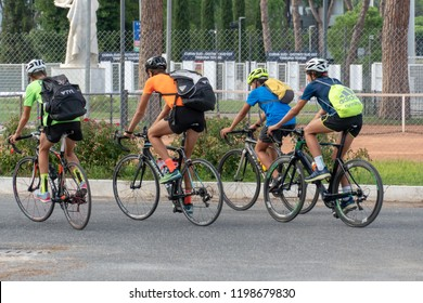 Rome, Italy - September 4, 2018: Unrecognizable back turned bikers riding
