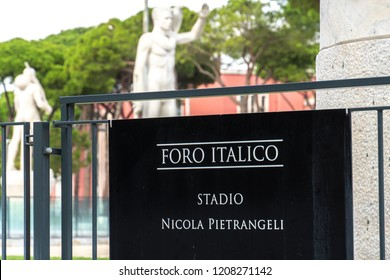 Rome, Italy - September 4, 2018: Signage of the Foro Italico Stadio Nicola Pietrangeli (formerly Pallacorda). Formerly Foro Mussolini, is a sports complex in Rome built between 1928 and 1938