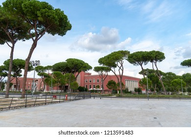 Rome, Italy - September 4, 2018: Exterior of the Foro Italico, formerly Foro Mussolini, is a sports complex in Rome built between 1928 and 1938 inspired by the Roman forums of the imperial age