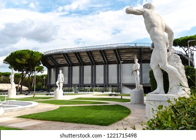 Rome, Italy - September 4, 2018: Exterior of the Central Tennis Stadium Nicola Pietrangeli (formerly Pallacorda) at the Foro Italico, formerly Foro Mussolini, a sports complex in Rome
