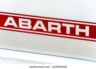 Rome, Italy - September 4, 2018: Abarth car. Abarth SpA is a racing car and road car maker founded by Italo-Austrian Abarth in 1949. Its logo is a shield with a scorpion on red and yellow back