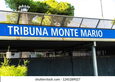 Rome, Italy - September 4, 2018: Sign of Monte Mario Tribune entrance to the Olympic Stadium. The Stadio Olimpico is the main and largest sports facility of Rome
