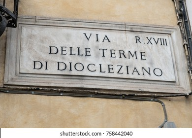 Rome, Italy - September 7, 2017: Via delle Terme di Diocleziano street name sign, Baths of Diocletian (Latin: Thermae Diocletiani)