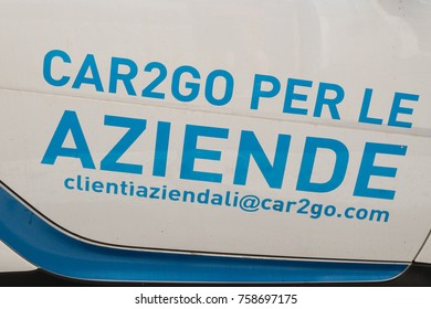 Rome, Italy - September 7, 2017: sign of Car2Go, a subsidiary of Daimler AG providing car-sharing services in European and North American cities
