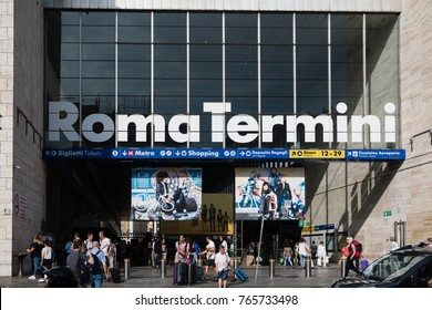 Rome, Italy - September 7, 2017: Train station Termini exterior. Roma Termini is the main railway station of Rome, the second largest railway station in Europe
