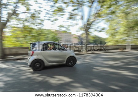 d666f0257 Rome, Italy - September 8 2018: A Smart Fortwo passing fast through  Lungotevere Street