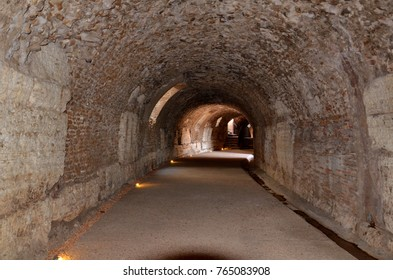 Rome, Italy, September 9, 2015: Colosseum basement tunnel, Rome, Italy