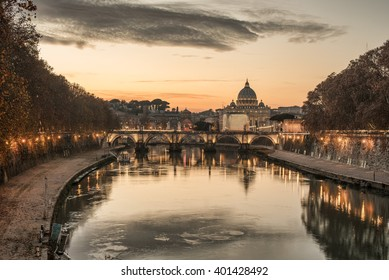 Rome, Italy: St. Peter's Basilica, Saint Angelo Bridge in the beautiful sunrise. Representative picture of Forever City.