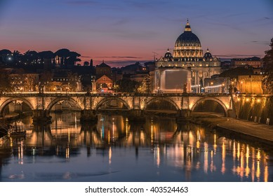 Rome, Italy: St. Peter's Basilica, Saint Angelo Bridge and Tiber River in the sunset. Beaufitul representative picture of Forever City.