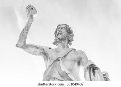 Rome (Italy) - Statue of St. John Baptist in Milvio Bridge