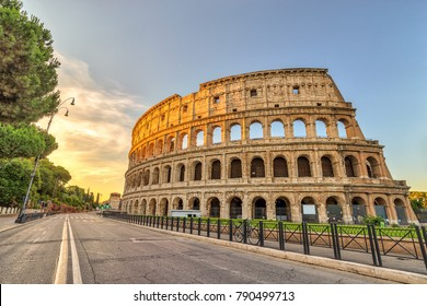 Rome Italy, sunrise city skyline at Colosseum (Coliseum)