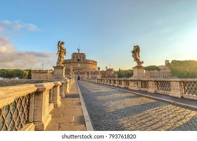 Rome Italy, sunrise city skyline at Castel Sant Angelo