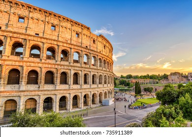 Rome Italy, sunset city skyline at Colosseum (Coliseum)