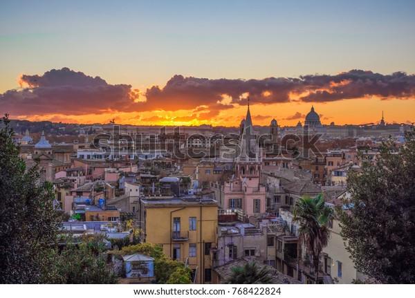 Rome Italy Sunset Terrazza Del Pincio Stock Photo Edit Now