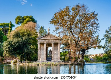Rome, Italy: Temple of Aesculapius in the gardens of Villa Borghese, built in the ionic style between 1785 and 1792 by Antonio Asprucci and his son Mario Asprucci,  houses a statue of Aesculapius.