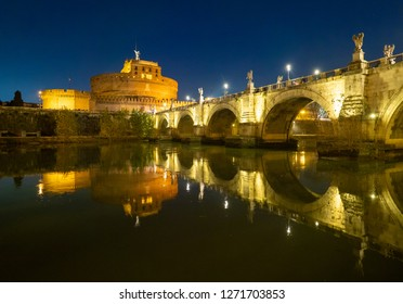 Rome (Italy) - The Tiber river and the monumental Lungotevere at sunset. Here in particular the Castel Sant'Angelo monument