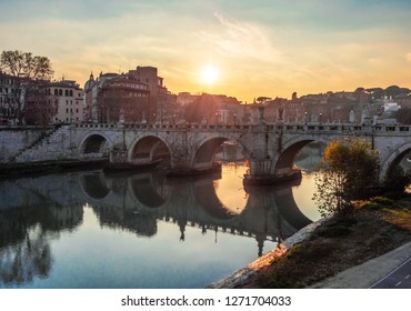 Rome (Italy) - The Tiber river and the monumental Lungotevere at sunset.