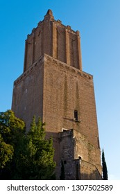 """Rome, Italy: The Torre delle Milizie (""""Tower of the Militia"""") is a fortified tower in Rome, Italy, located between Trajan's Market in the Imperial fora"""