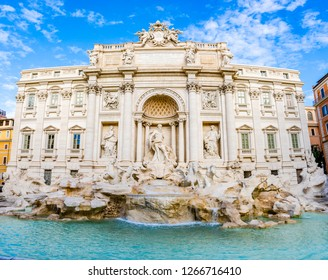 Rome, Italy: Trevi fountain by Nicola Salvi and Giuseppe Pannini, with many Bernini touches, built from 1732 to 1762 on Poli palace with Oceanus, triton statues.